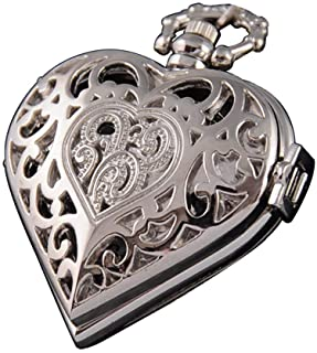 VIGOROSO Women's Steampunk Pocket Watch Heart Harry Potter Locket Style Pendant Necklace Chain in Box