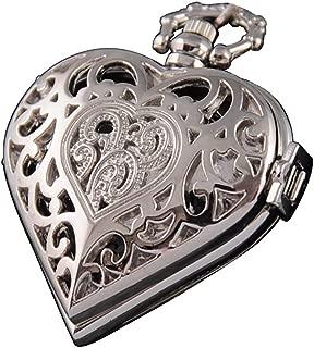 VIGOROSO Women's Steampunk Pocket Watch Heart Harry Potter Locket Style Pendant Necklace Chain in Gift Box