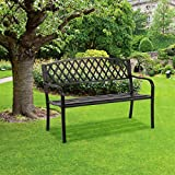Anti-Rust Metal Bench Garden Bench with Back Porch Benches for Outdoor 400 lbs Cast Iron Steel Frame Chair w/PVC Mesh Pattern Waterproof Outdoor Bench for Patio,Yard Porch Work Entryway,Black