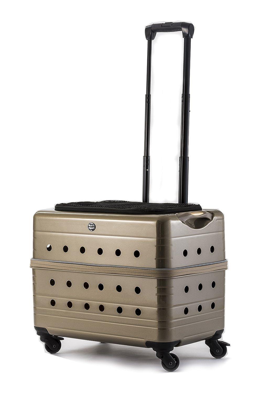 (ルイアンドアグリ)RUI&AGURI ペットキャリー ハードケース キャスター付き スーツケース 犬 猫 兼用 お出かけ 旅行用 キャリーケース (ME129) (2匹用, ゴールド)