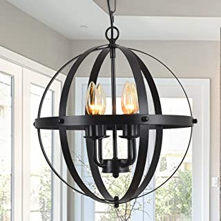 "GOODYI 4-Light Rustic Chandeliers 13.8"" Black Pendant Light Orb Chandeliers Industrial Metal Farmhouse Light Fixture Spherical Shade for Kitchen Island Dining Room Globe Ceiling Hanging Light"