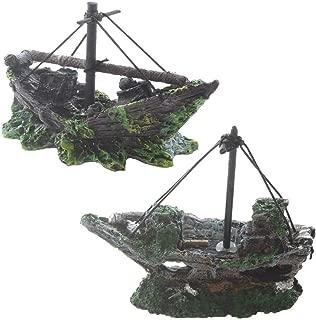 Emours 2 Pack Aquarium Ornament Mini Small Private Ship Fish Tank Decoration Hideout