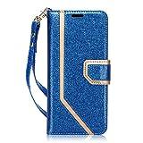 FYY Handyhülle für Samsung Galaxy S9 Hülle,PU Leder Handy Brieftasche Schutzhülle Tasche für Samsung S9,Galaxy S9 Schutzhüllen aus Klappetui mit Kreditkartenhaltern,Magnetverschluss–Bling Schwarzblau