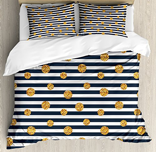 Ambesonne Modern Duvet Cover Set, Horizontal Nautical Lines with Circles Rounds Polka Dots, Decorative 3 Piece Bedding Set with 2 Pillow Shams, Queen Size, Yellow Blue