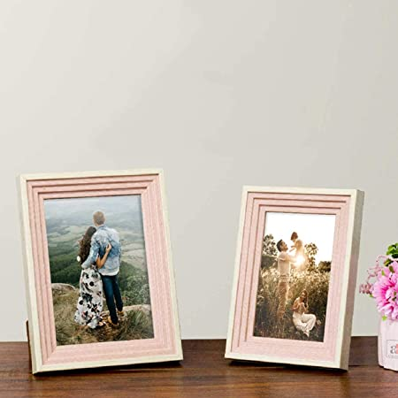 "Art Street Table Photo Frame/Picture Frame for Desk (Photo Size 5""X7"" & 4""X6"") Photo Gift/Love Gift - (Set of 2- Multicolor)"