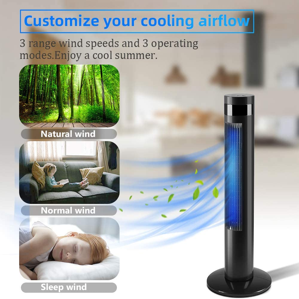 3 Wind Speed and 3 Modes Setting Built in 12 H Timer LED Display Kismile 35 Portable Oscillating Quiet Tower Fan with Remote Control Black Powerful Standing Fan for Bedroom,Home,Office,Dormitory