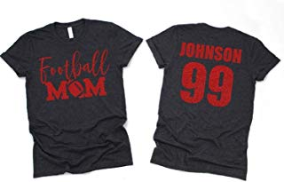 Custom Football Mom Glitter Shirt, Football Mom Shirt, Bling Football Mom Long Sleeve Short Sleeve Unisex Fit, Pick Your Colors