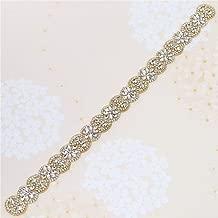 Sew on Gold Crystal Rhinestone Wedding Dress Sash Applique with Beads Jeweled Sequin Diamond Embellishments Hot Fix Iron on for Bridal Bridesmaid Gown Womens Prom Formal Waist Belt Bride Keepsake Gift