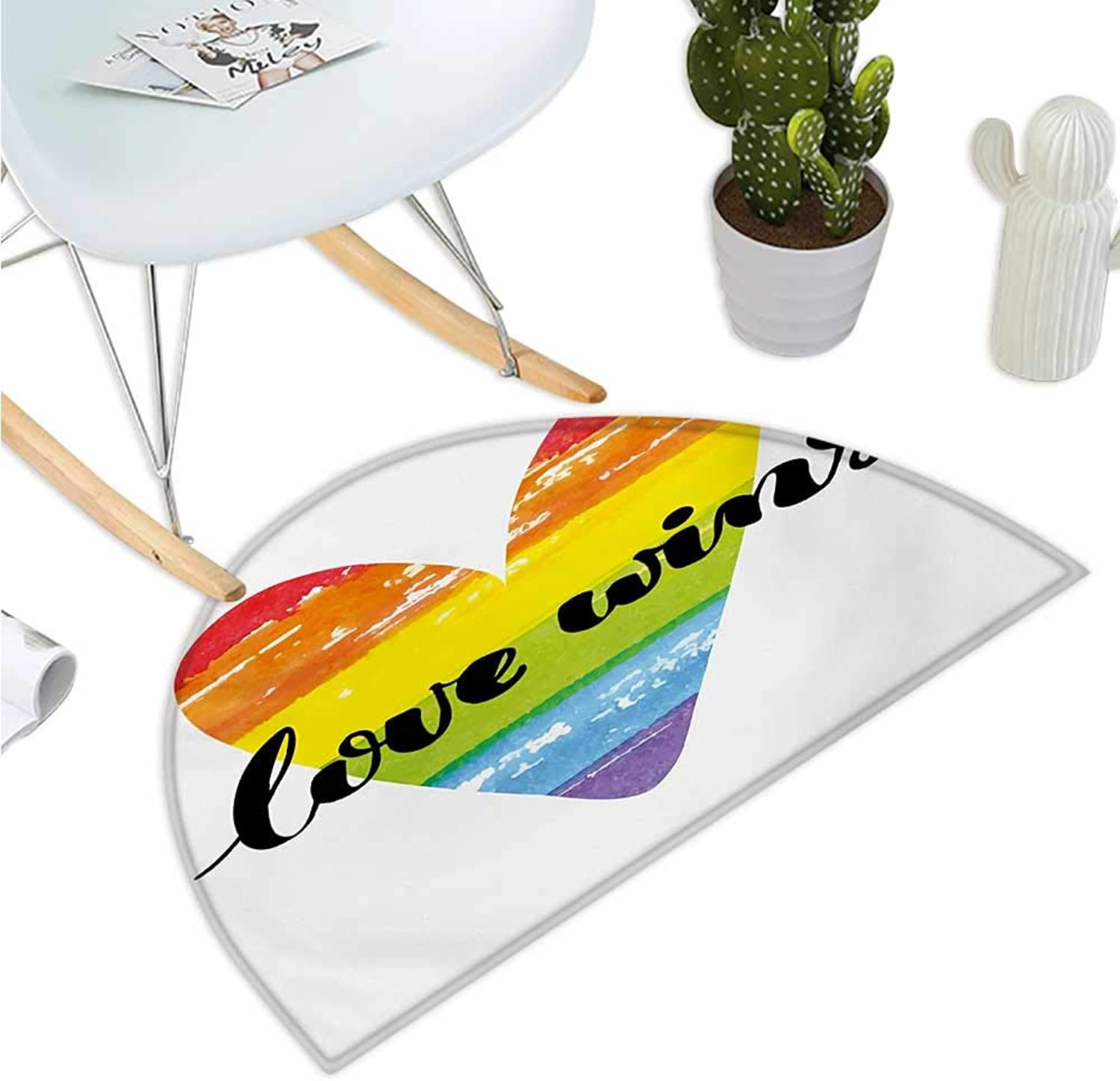 Pride Semicircular Cushion Hand Lettering on Watercolor Artistic Heart Symbol of Gay Marriage Inspirational Bathroom Mat H 43.3  xD 64.9  Multicolor