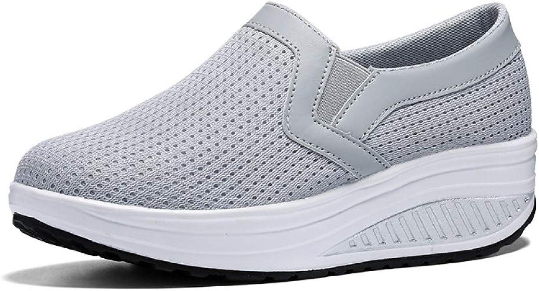 York Zhu Women's Platform Sneakers Mesh Breathable Slip On Footwear Casual Comfortable Lightweight Flat shoes