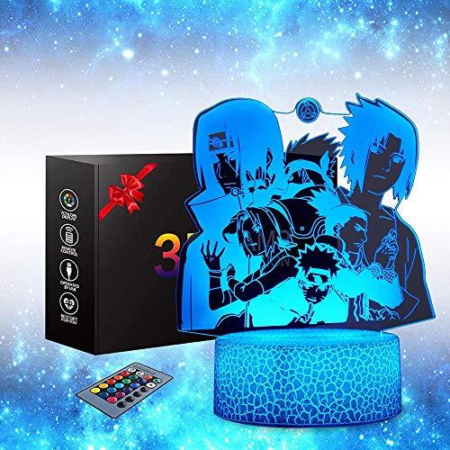 Naruto Luz nocturna 3D, Naruto Anime Toys lámpara de mesa 16 cambio de color lámpara decoración lámpara con mando a distancia, iluminación creativa para regalos de recuerdo perfectos