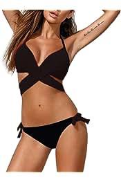 703b2370fe Bequemer Laden Bikini Rembourré Maillot de Bain Push Up Halter Bandage  Maillot 2 pièces Femme Maillot