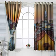 Jinguizi Grommet Window Curtain Window Decor Sunset,View Over The Rooftops of The Old City Cartagena Cathedral Colombian Coast Picture,Multicolor Window Curtains 72 x 72 inch