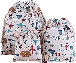 Monbedos Lot de 3 sacs à cordon de serrage en coton et lin pour la maison ou les loisirs créatifs ou les voyages (grand fo...