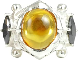Sterling Silver Men's Band Vintage Gothic Oval Amber Signet Ring