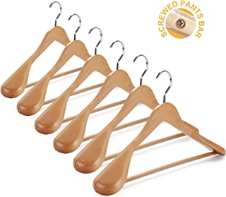 TOPIA HANGER Set of 6 Luxury Natural Wooden Coat Hangers, Premium Wood Suit Hangers, Glossy Finish with Extra-Wide Shoulder, Thicker Chrome Hooks & Anti-Slip Bar CT02N