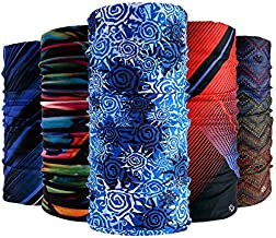 Wujia Bandanas 5pcs Multifunctional Headwear Unisex Cooling Neck Gaiter, Bandana Headband Seamless Magic Scarf Outdoor Sport Headwear with UV Resistence,for Fishing, Hiking, Running, Motorcycle.
