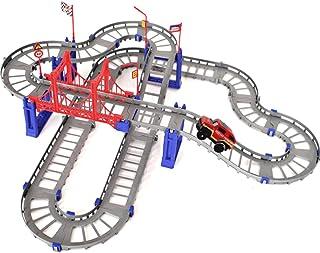 LELE Kid's DIY 3D Electric Rail Racing Car Train Track Set (88 Pieces)