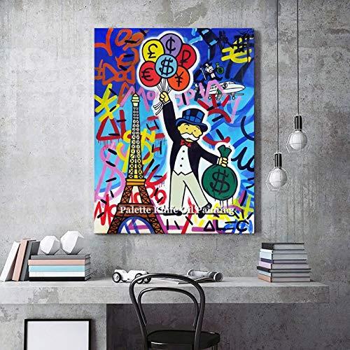 ganlanshu Pintura sin Marco Pop Art Street Art Urban Art Money Art Mural sobre lienzo20X30cm