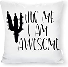 DKISEE Decorative Hug me i am Awesome Square Throw Pillow Cover Canvas Pillow Case Sofa Couch Chair Cushion Cover for Home Decor