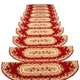 Non Slip Outdoor Stair Treads 3 Pcs Stair Covers for Carpeted Stairs,with Self Adhesive Skid Resistant Rubber Backing Easy Installation Stair Rug (Color:red,Size:26×100cm)