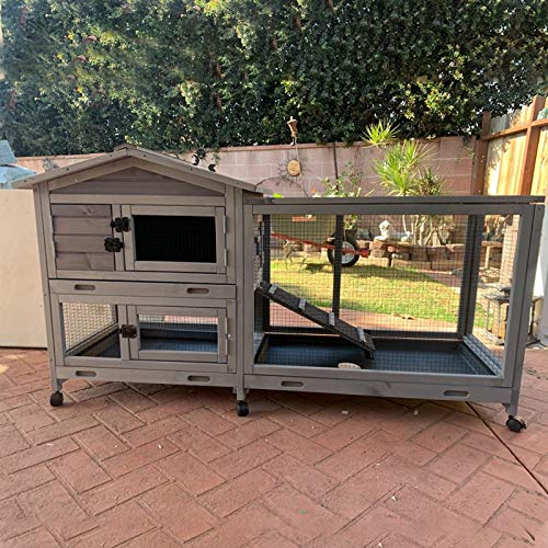 Outdoor Rabbit Hutch Indoor Bunny House on Wheels Large Guinea Pig Cage with Run for Any Small Animals,Removable Pull Out Tray