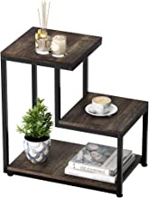 LANGRIA 3-Tier Sofa End Table, Nightstand with Storage Shelf Industrial Ladder-Shaped Chair Side Table with Sturdy Metal Frame for Living Room Bedroom Entryway, Rustic Brown Finish