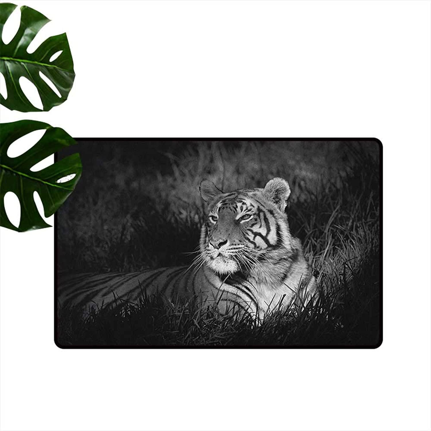 Black and White Entrance Door mat Bengal Tiger Lying in The Grass Africa Savannah Monochrome Image Print Hard and wear Resistant W35 x L59 Black White