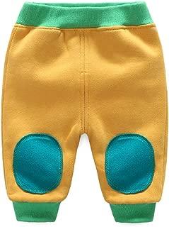 JooNeng Baby Warm Thicken Fleece Pants Infant Cotton Knee Patch Sweatpants Elastic Waist Trousers Bottoms