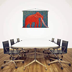 Artzfolio Red Elephant D6 Canvas Painting Tapestry Scroll Art Hanging 19.2 X 12Inch