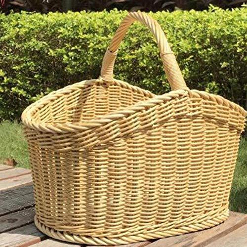 SCHS Picknickkorb großer Einkaufskorb Webkorb Obstkorb Einkaufskorb Einkaufskorb Aufbewahrungskorb Korb, XL