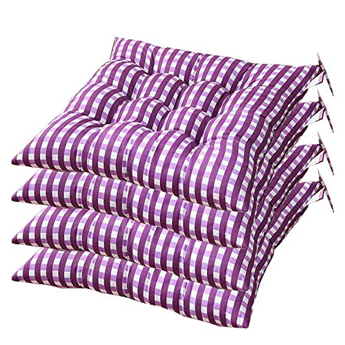 AGDLLYD Set of 4 Premium Padded Cushion Chair Seat Pads With Ties, Quilted Design - 40 x 40 x 7cm (purple)