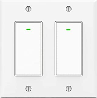 Wifi Light Switches,Smart Switch, Alexa Switch Compatible with Google Home and IFTTT, Wireless remote control, White Neutral wire required, Physical Button (2 gang)