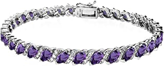 Sterling Silver Created, Simulated or Genuine Marquise-Cut Tennis Bracelet with White Topaz Accents