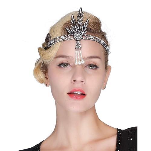 FAIRY COUPLE Art Deco 1920s Flapper Great Gatsby Leaf Bridal Tiara Pearl Headpiece Headband