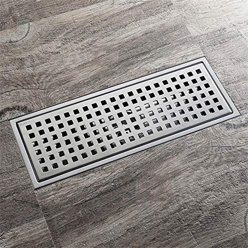 ZXL rechthoekige roestvrijstalen vloer sifon voor badkamer, toilet, keuken, vloerafvoer, verwijderbare deodorant afvoer (300 mm, 11026 keer, 110 mm)