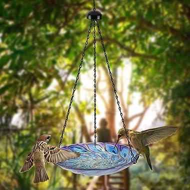 VCUTEKA Hanging Bird Baths Outdoor Glass Peacock Birdbath Birdfeeder for Garden Yard Decoration