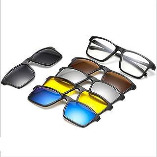 نظارات Square Shape Retro Sunglasses with 5Pcs Interchangeable Lenses for Men Women Unbreakable TR90 Frame Clip-on UV Prot...