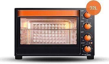 ZXYZZ 32L Oven Home Hornear De Múltiples Funciones Automático Pequeño Pan Cake Horno Eléctrico de Alta Seguridad Puede Hacer Pastel de Pizza de Pollo Asado,Black Orange