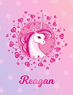 Reagan: Unicorn Large Blank Primary Sketchbook Paper | Pink Purple Magical Horse Personalized Letter R Initial Custom First Name Cover | Drawing Sketch Book for Artists & Illustrators | Art Sketch Book| Create & Learn to Draw