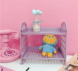 便利収納 置物棚 女の子 卓上収納ラック 可愛い ピンク少女 プチ家具装飾 2階層 収納棚 マガジン CD ラック (パープル)