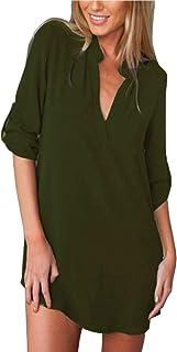 ZANZEA Dames V-hals Zomer Casual Lange Mouwen Losse Overhemd Shirt Tops Dunne Jas Met Sexy Shirt Rok Overhemdjurk