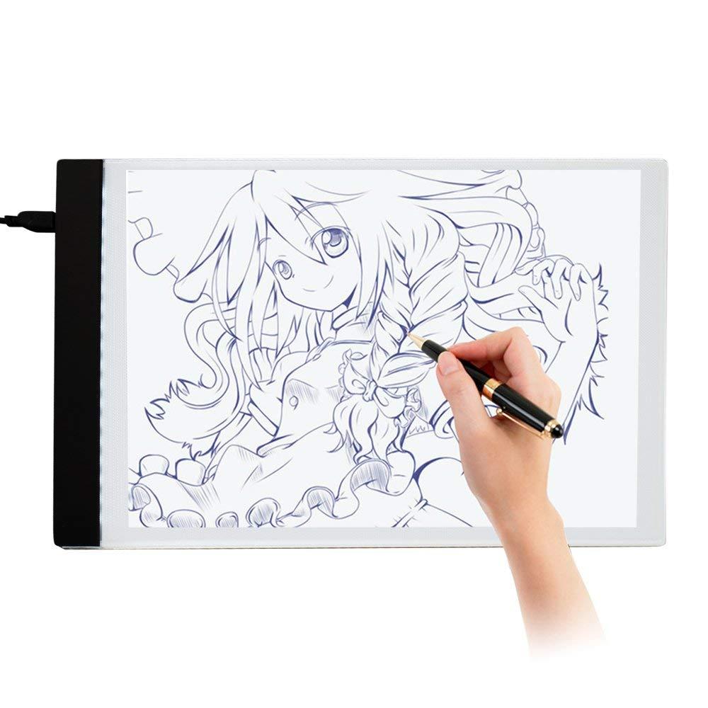 Littleduckling Auped Ultra Delgada Caja de Luz Led A4 Almohadilla de Dibujo Tablero de Dibujo Plantilla Artist Tracing Tatto Mesa Blanca, 33,8 x 23,8 cm: Amazon.es: Hogar