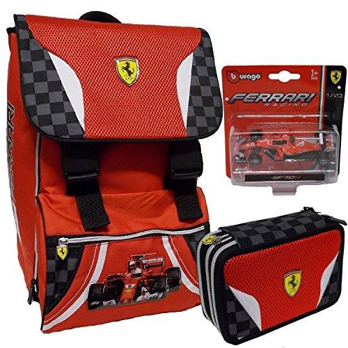Ferrari Kit Zaino Estensibile + Astuccio completo 3 zip + modellino ferrari