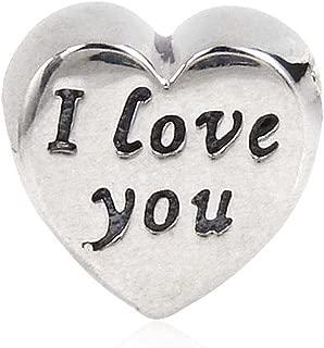 I love you Charm 925 Sterling Silver Heart Charm Valentine Charm for DIY Charms Bracelet
