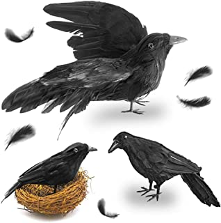 FuturePlusX Halloween Crows, 3-Style Realistic Handmade Crow with Glass Bird's Nest, Black Crows Decorations Crow Prop, Artificial Birds Fake Ravens Imitation Crows