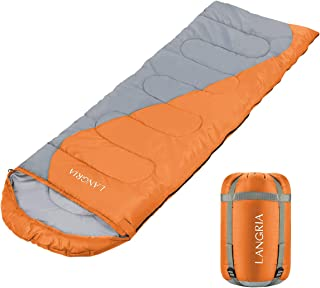 LANGRIA 3 Seasons Sleeping Bag with Compression Sack, Compact & LightweightSleeping Bags for Indoor/Outdoor Sleepover Camping Backpacking Hiking Festival