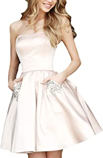 PromC Womens Short 2019 Homecoming Dresses with Pockets Bridesmaid Gown P004