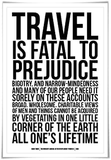 Travel is Fatal to Prejudice Art Print Mark Twain Quote. 60 Colours/3 Sizes. Innocents Abroad. Literary Poster. Racism Bigotry