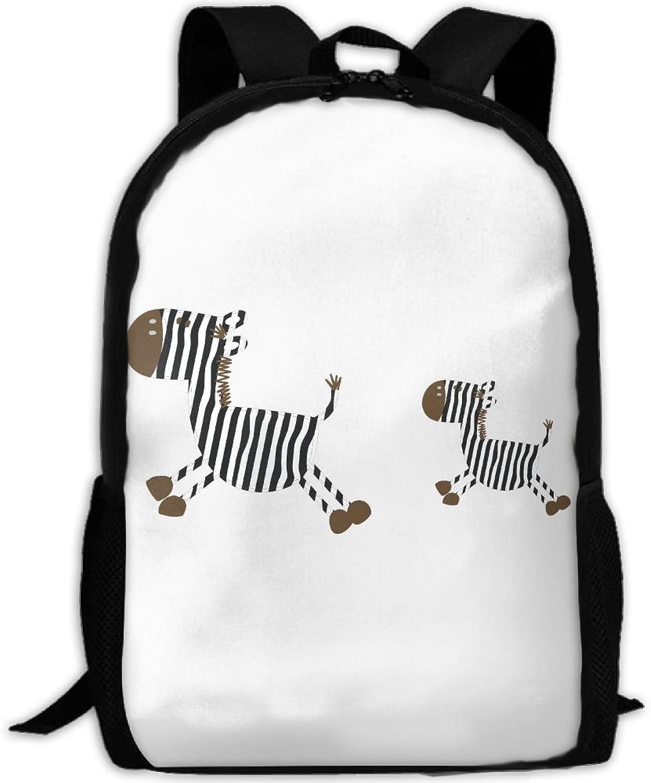 Zebra Cartoon Adult Backpack College Daypack Oxford Bag Unisex Business Travel Sports Bag